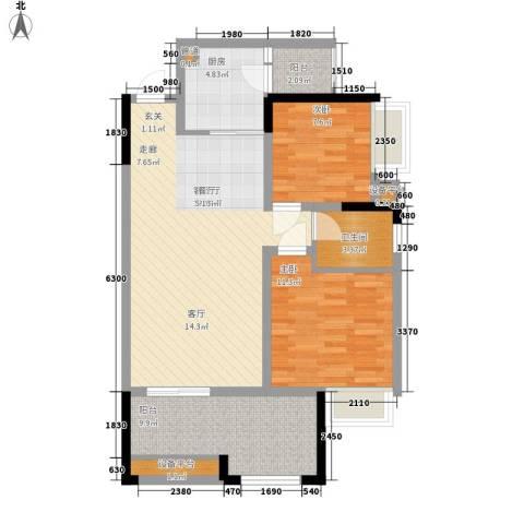 黔龙阳光新世界2室1厅1卫1厨99.00㎡户型图