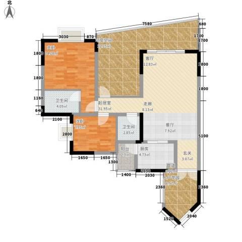 湖畔城市假日2室0厅2卫1厨97.50㎡户型图