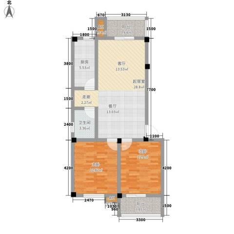 西湖人家2室0厅1卫1厨86.00㎡户型图