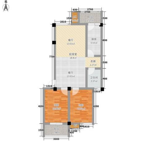 西湖人家2室0厅1卫1厨81.00㎡户型图