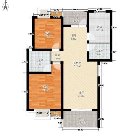 兰亭水云涧2室0厅2卫1厨81.00㎡户型图