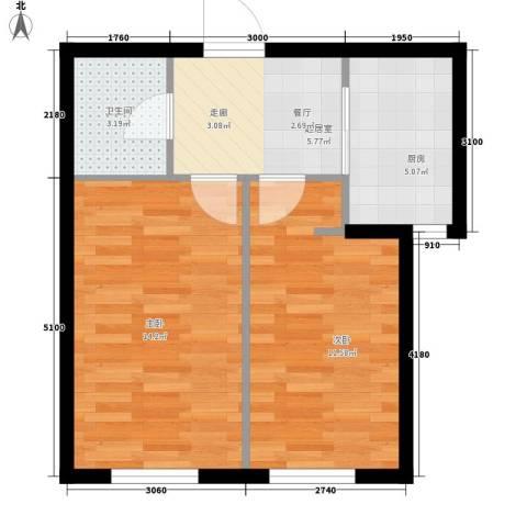 万晟御水湾2室0厅1卫1厨58.00㎡户型图