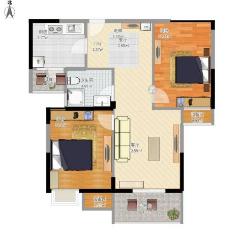 金地雄楚1号2室1厅1卫1厨91.00㎡户型图