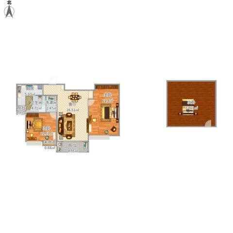 国泰・润园3室1厅1卫1厨148.00㎡户型图