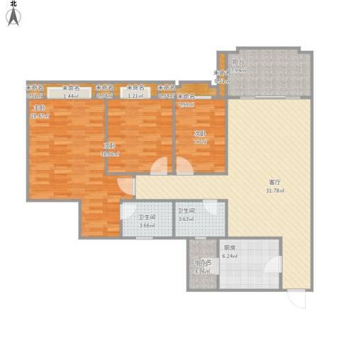 茵华花园25栋3室1厅2卫1厨136.00㎡户型图