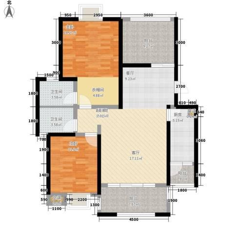 公园一号2室0厅2卫1厨95.00㎡户型图
