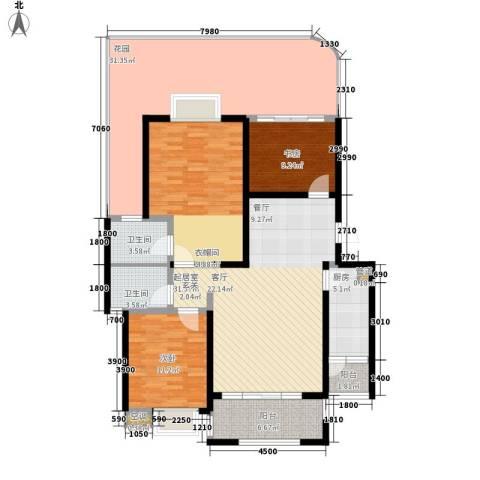 公园一号3室0厅2卫1厨123.32㎡户型图