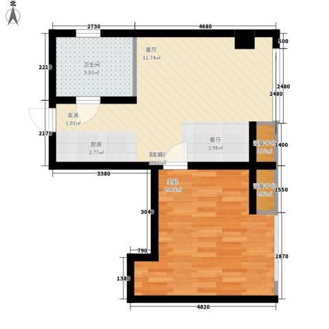 商之都SOHO公寓1室1厅1卫0厨52.00㎡户型图