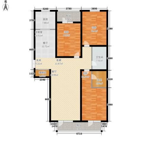 日月天地广场3室0厅1卫1厨156.80㎡户型图