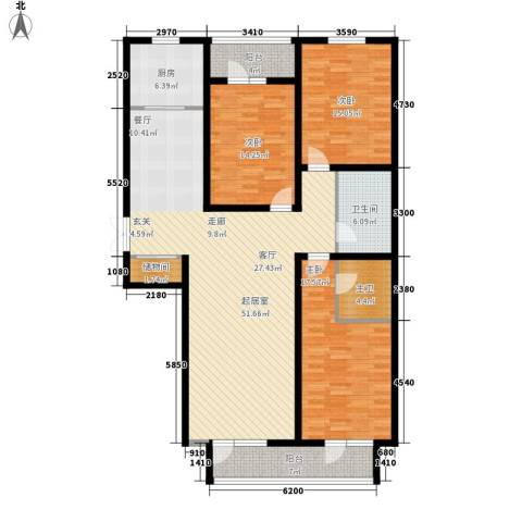 日月天地广场3室0厅1卫1厨146.00㎡户型图
