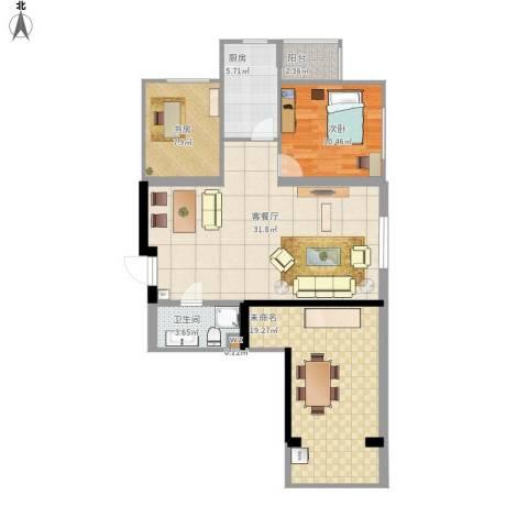 太铁佳苑2室1厅1卫1厨114.00㎡户型图