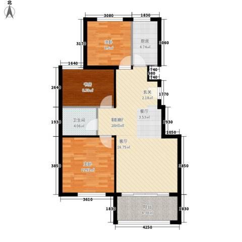 太阳新城3室1厅1卫1厨104.00㎡户型图