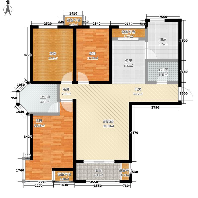 金屋秦皇半岛133.00㎡一区2号楼户型3室2厅