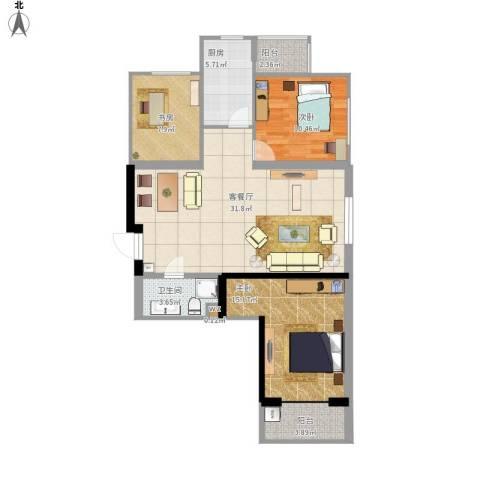 太铁佳苑3室1厅1卫1厨114.00㎡户型图