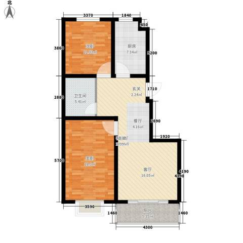 海东盛景2室1厅1卫1厨109.00㎡户型图