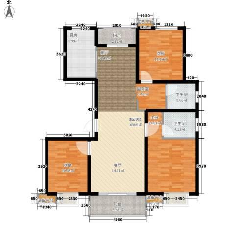 仕方国际3室0厅2卫1厨130.00㎡户型图