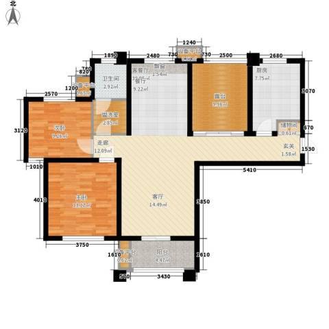 世茂东都2室1厅1卫1厨132.00㎡户型图
