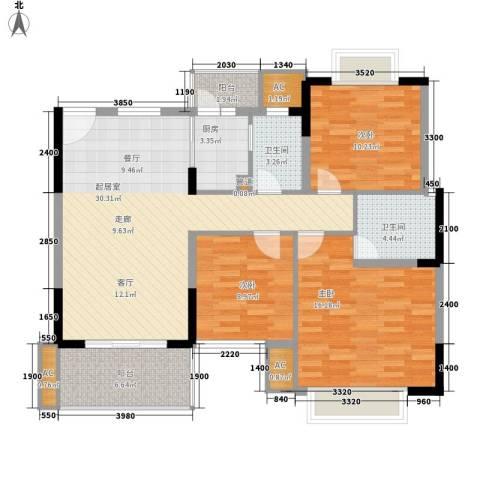 金域中央藏峰3室0厅2卫1厨125.00㎡户型图
