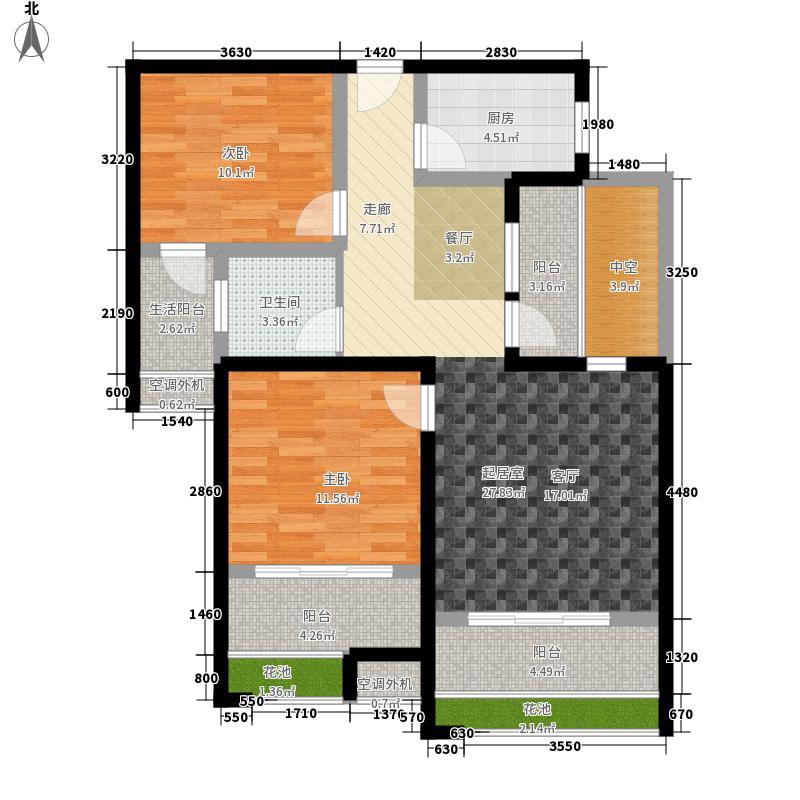 新合鑫观悦88.90㎡一期户型2室2厅