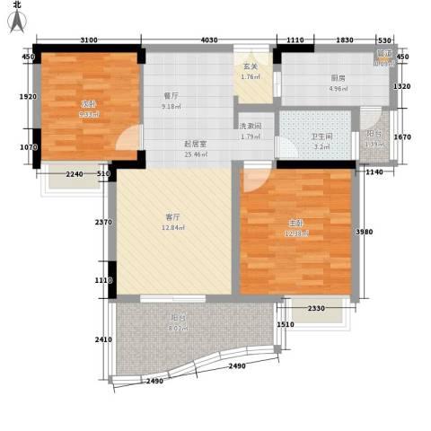 绿湾嘉景苑2室0厅1卫1厨75.00㎡户型图
