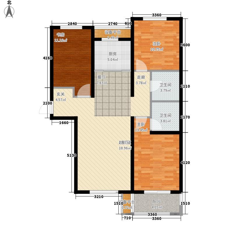 金屋秦皇半岛124.00㎡一区4号楼户型3室2厅