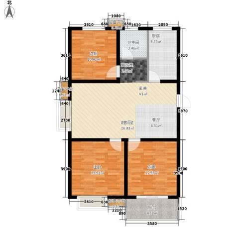仕方国际3室0厅1卫1厨111.00㎡户型图