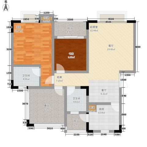 公园一号2室0厅2卫1厨92.62㎡户型图