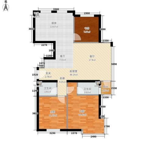 锦绣公馆3室0厅2卫0厨122.00㎡户型图
