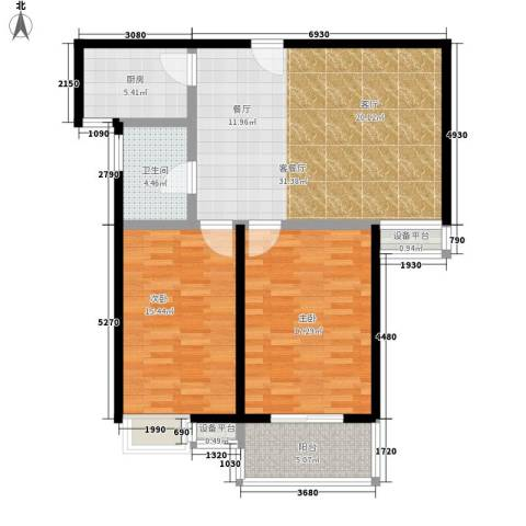 江林新城2室1厅1卫1厨92.00㎡户型图