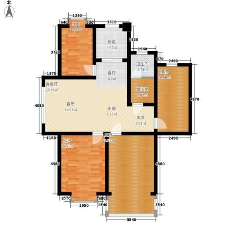 学府人家2期3室1厅1卫1厨131.00㎡户型图