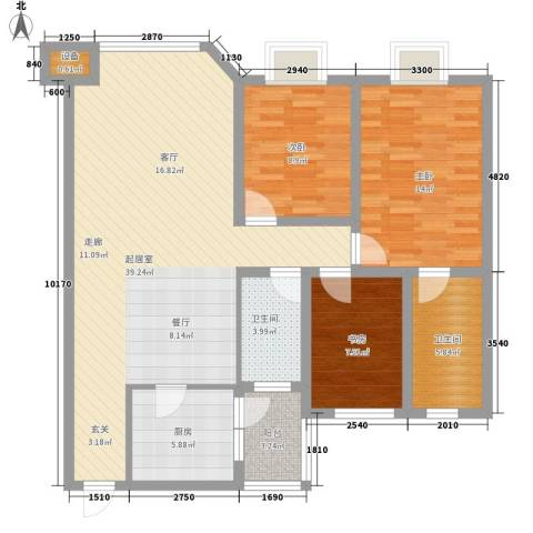 康路蓝山日记3室0厅2卫1厨99.00㎡户型图