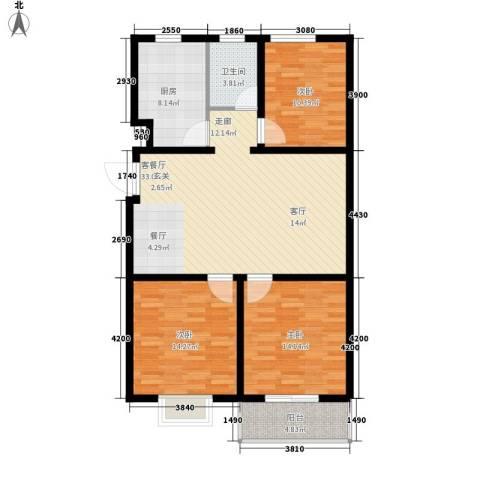 海东盛景3室1厅1卫1厨125.00㎡户型图