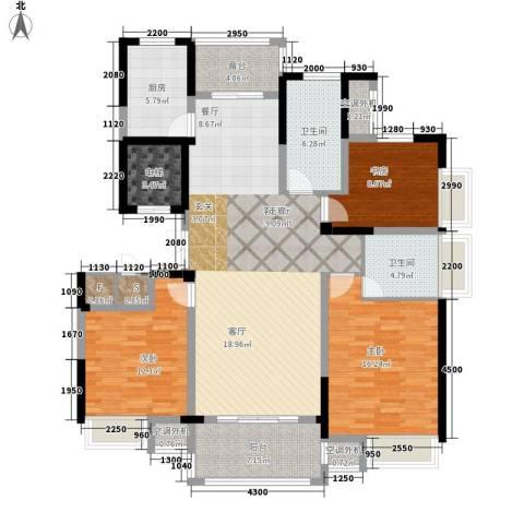 新浪琴湾3室1厅2卫1厨136.00㎡户型图