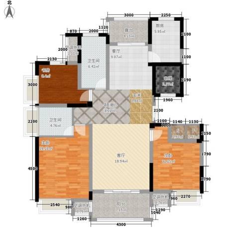 新浪琴湾3室1厅2卫1厨138.00㎡户型图