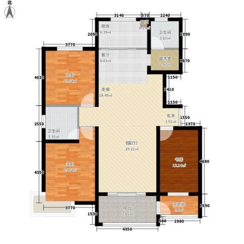 沁园庭3室1厅2卫1厨166.00㎡户型图