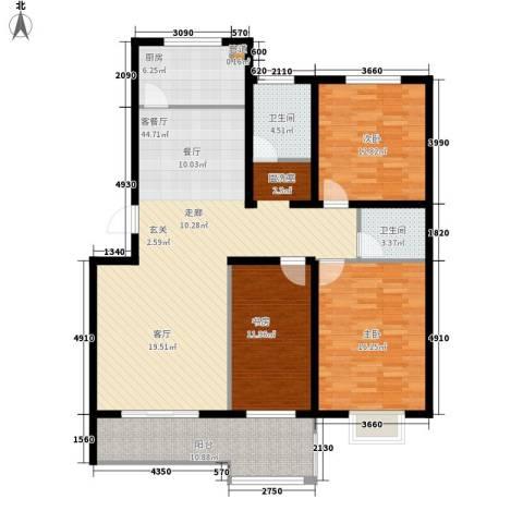 沁园庭3室1厅2卫1厨156.00㎡户型图