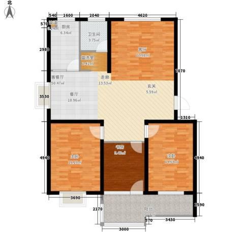 沁园庭3室1厅1卫1厨155.00㎡户型图
