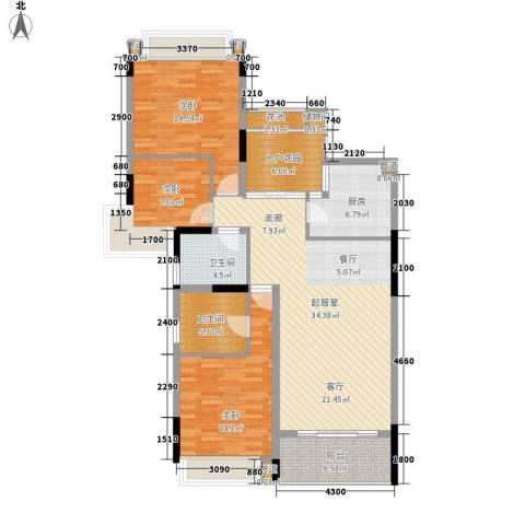 雅居乐国际花园雅郡3室0厅2卫1厨106.00㎡户型图