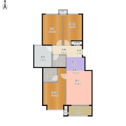 北京城建・海梓府2室1厅2卫1厨116.00㎡户型图