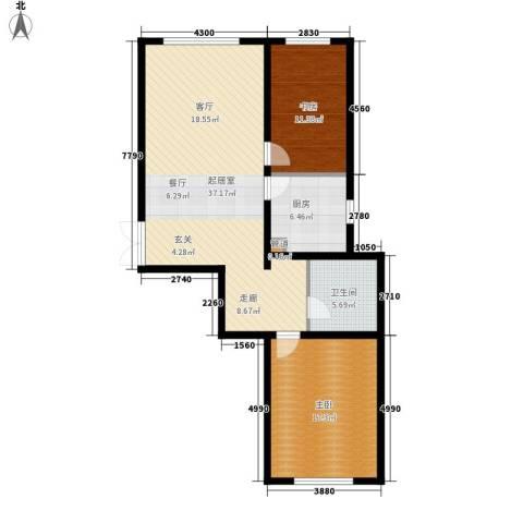 和美紫晶花园2室0厅1卫1厨88.00㎡户型图