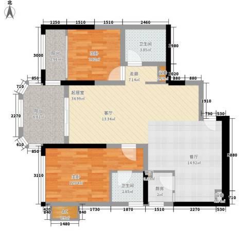 碧桂园金海湾2室0厅2卫1厨82.00㎡户型图