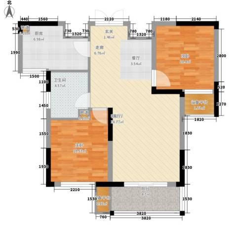 骏浩华庭2室1厅1卫1厨87.00㎡户型图