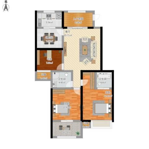 友创健康城3室1厅2卫1厨146.00㎡户型图