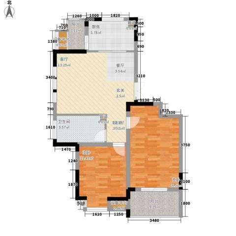 骏浩华庭2室1厅1卫1厨94.00㎡户型图