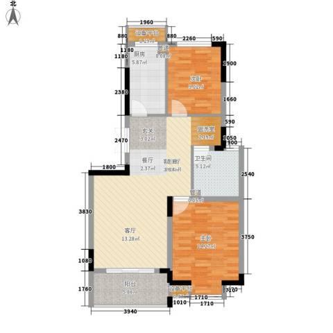 骏浩华庭2室1厅1卫1厨93.00㎡户型图