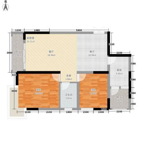铭丰・臻园2室0厅1卫1厨101.00㎡户型图