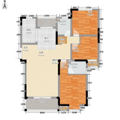 骏浩华庭3室1厅2卫1厨135.00㎡户型图