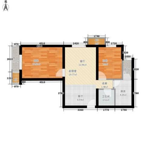 虎丘新村2室0厅1卫1厨60.00㎡户型图