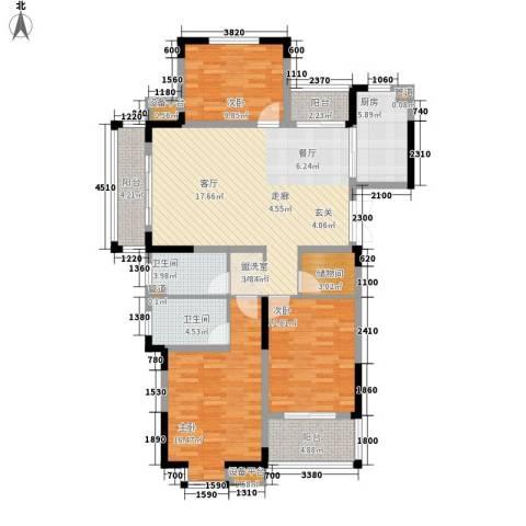骏浩华庭3室1厅2卫1厨139.00㎡户型图