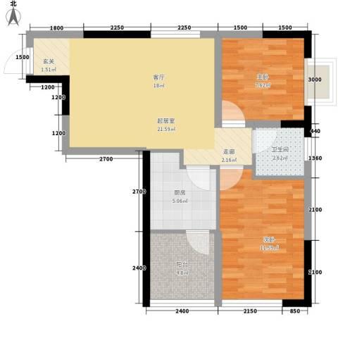 森柯一馨园2室0厅1卫1厨58.00㎡户型图